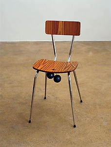 Richard Wentworth <i>Lightweight Chair with Heavy Weights</i>, 1983 Laminated wood,steel,brass,lead & cable 76 x 38 x 39 cm