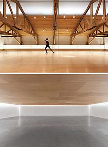 "<i>Compass</i> 2009 Suspended wooden drop ceiling, dancers  (Raymundo Vega, depicted) Variable dimensions  Installation view: ""Compass"" Kurimanzutto Gallery, Mexico, DF Photo: Michel Zabé Thiria"