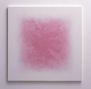 <i>Mist, </i> 2008 Red and Blue pencil on white aquacryl on canvas 100 x 100 cm
