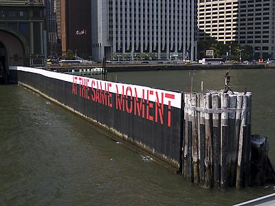 Lawrence Weiner Outdoor project sponsored by Creative Time: The World & Nearer Ones at Governor's Island, NYC, 2009
