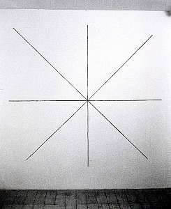 Sol LeWitt <i>Lines through, toward and to points 172  Lines through the center of the wall toward midpoints of sides and corners</i>, 1973 Black crayon First drawn by Sol Lewitt & Nicholas Logsdail First installation: Lisson Gallery, London, May 1973