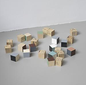 Ryan Gander  <i>A blood that runs against that kind of blood</i>, 2006 Twenty-four 5cm wooden cubes  60 x 43 cm
