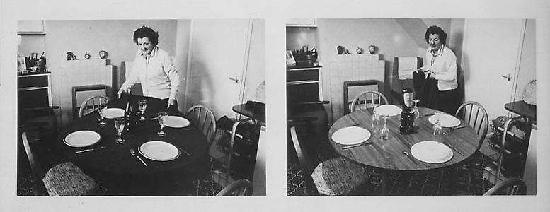 Terrence Bond  <i>Mum in Kitchen</i>, 1981 Black and white photographs on museum board 44.5 x 36.8 cm