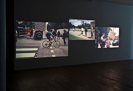 Sharon Hayes <i>In the Near Future</i>, 2005 - ongoing Multiple slide projections.  Installation view, LUX 28, London.