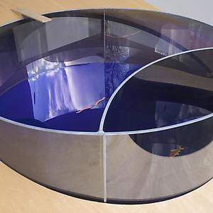 <i>Model for Swimming Pool/Fish Pond, </i>1997 Two-way mirror glass, aluminium, acrylic sheet, decals 31.8 x 106.7 x 106.7 cm