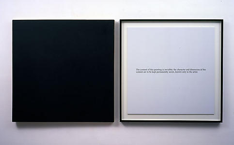 Art & Language <i>Secret Painting</i>,1967-68 Liquitex on canvas and photostat Part 1: 92 x 92 x 5 cm Part 2 : 92 x 92 x 5 cm