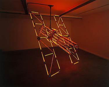 Allora & Calzadilla <i>Heat Cast </i>, 2004 Steel, electrical wire, infra-red heating elements Variable