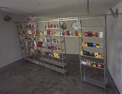 Richard Wentworth  <i>Mirror, Mirror, </i>2003 Galvanised steel, laminated glass and assorted dictionaries Dimensions variable