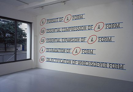 Lawrence Weiner <i>WITHIN A REALM OF RELATIVE FORM, </i>2005 Language and the materials referred to Dimensions variable