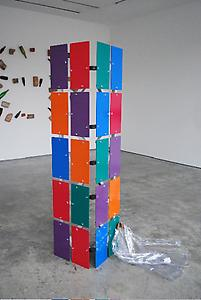Helen Marten <I>George Nelson</I>, 2009 Powder coated aluminium, butterfly nuts, plastic caps, tropical wood, vogue pattern pvc suit jacket 20 panels each 36 x 20 cm Overall dimensions: approx. 130 x 200 x 100 cm