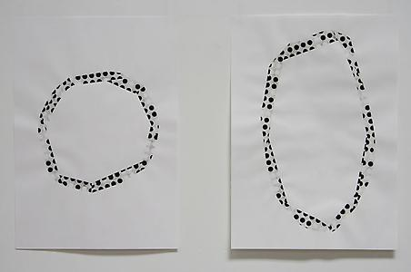 Alice Channer  <i>Other-Directed</i>, 2009 Cigarette ash, pencil and gouache in and on paper 84 x 60 cm each