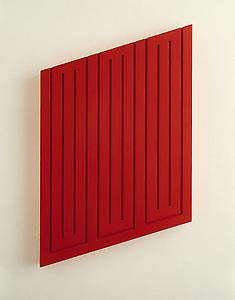 Donald Judd  <i>Untitled</i>, 1968 Light cadmium red oil on wood 52.7 x 42.5 x 5 cm