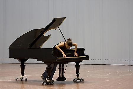 "<i>Stop, Repair, Prepare: Variations of Ode to Joy for a Prepared Piano</i> 2008 Prepared Bechstein Piano, Pianist (Andrea Giehl, depicted) 81"" Long  Installation view: Haus der Kunst, Munich Photo: Marino Solokov"