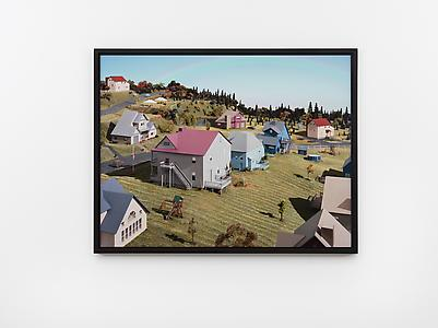 James Casebere  <i>Landscape with Houses (Dutchess County, NY) #4,</i> 2010 Framed digital chromogenic print mounted to Dibond, glazed with Mirogard Plus glass 111.8 x 146.7 cm (print)