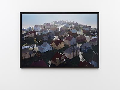 James Casebere  <i>Landscape with Houses (Dutchess County, NY) #1,</i> 2009 Framed digital chromogenic print mounted to Dibond, glazed with Mirogard Plus glass 111.4 x 161 cm (print)