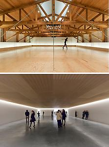 "<i>Compass</i> 2009 Suspended wooden drop ceiling, dancers  Variable dimensions  Installation view: ""Compass"" Kurimanzutto Gallery, Mexico, DF Photo: Michel Zabé Thiria"