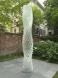 Shirazeh Houshiary  <i>White Shadow,</i> 2005 Aluminium bricks and steel cable height 405 cm; ellipse 66 cm x 47 cm