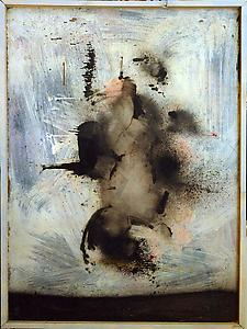 John Latham  <i>Sleep, </i>1955 Emulsion and spray paint on board 91 x 122 cm