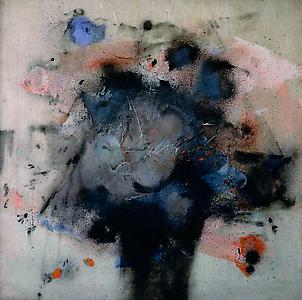 John Latham  <i>Untitled, </i>1956 Emulsion and sprayed paint on unprimed canvas 66 x 66 cm