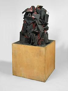 John Latham  <i>Little Red Mountain, </i>1960-62 Timber base, books, plaster, wires 132 x 64 x 64 cm