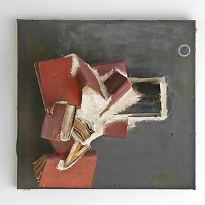 John Latham  <i>Manningtree, </i>1963 Books in plaster on board 69 x 65 x 51 cm