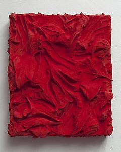 Jason Martin  <i>Xinca, </i>2011 Pure pigment on aluminium (cadmium red) 65 x 56 cm