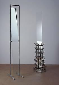 Richard Wentworth  <i>Ifs and Buts,</i> 2005 Galvanised Steel with mirror (two parts) Steel: 44cm dia x 210cm  Glass: 35 x 50 x 230cm