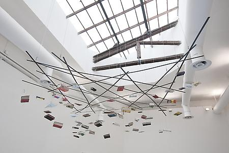 Richard Wentworth  <i>Firma Terra Firma Terra,</i> 2009 Books, steel, and cable Dimensions variable (approx. 3 m X 3 m x 1.5 m, suspended) ed.unique