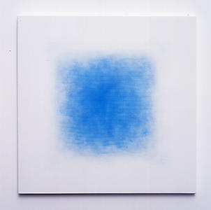 Coalesce, 2008 Blue pencil on white aquacryl on canvas 70 x 70 cm