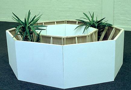 Ryan Gander  <i>Componenture - Space Filler (Proposal for a motorway service station entrance)</i>, 1998 Plywood, timber, paint and Yucca plants Various