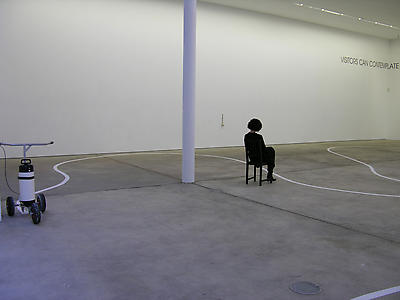 Ceal Floyer, <i> Taking a Line for a Walk,</i> 2008, Lawn marking paint, marking paint advice and marking paint on floor, Variable, Exhibition view at Kunst-Werke, Berlin