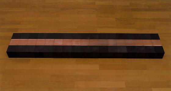 Carl Andre  <i>51 Copper-Carbon Vein</i>, 2006 17 copper and 34 carbon cubes 10 x 30 x 170 cm installed    (each 10 x 10 x 10 cm)