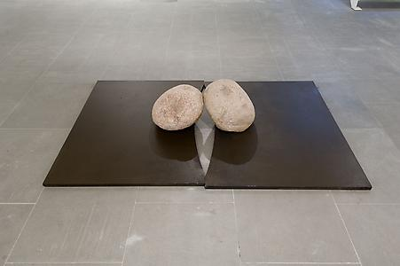 Lee Ufan  <i>Relatum - Lover</i>, 1986 Two iron plates and two natural stones Iron plates: 140 x 115 x 3cm  Stones: 40 x 40 x 40cm