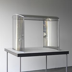<i>Portal model, </i>1997 Two-way mirror glass, aluminium, painted wood 76 x 107 x 92 cm