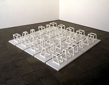 Sol LeWitt <i>Geometric Structures,</i> 1979 Painted hardwood with plywood bases 365 x 320 x 35 cm