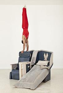 "<i>Body in Flight (American)</i> 2011 Stained Wood, gymnasts (Dave Durante, 2007 US All-Around Gymnastics Champion, depicted) Installation view: ""Gloria"" US Pavilion, presented by the Indianapolis Museum of Art, 54th International Art Exhibition, La Bienal di Venezia Photo: Andrew Bordwin"