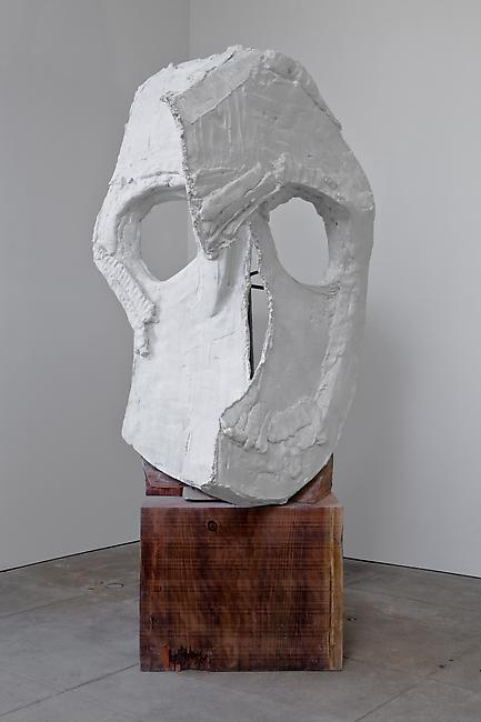 <i>Moon Mask (Two Plane)</i>, 2010 Tuf-Cal, hemp, iron rebar, redwood Head: 68 x 43 x 40 inches Base: 24 x 30 x 30 inces