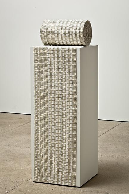 <i>Roll call</i>, 2008-2010 glass beads, cotton (diameter) 12 x 7 inches (pedestal) 36 x 14 x 14 inches