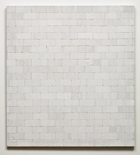 <i>Block</i>, 2010-2011 glass beads, cotton, stretcher frame 56 x 51 x 1/8 inches
