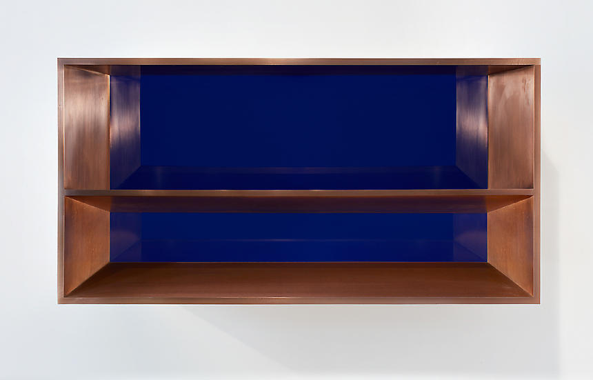 <i>Untitled (81-87 Bernstein)</i> 1981 copper, blue plexiglas 19 5/8 x 39 3/8 x 19 5/8 inches