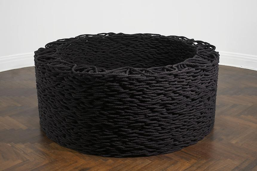<i>Continuous Mile</i> 2007-2008 cotton, glass beads 3/4 x 3/4 x 360 inches (1.9 x 1.9 x 914.4 cm) 31 x 77 inches (78.7 x 195.6 cm) installed 1/2
