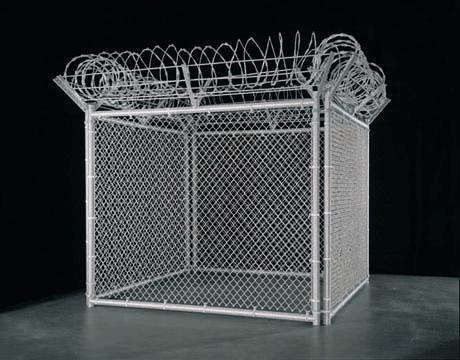 <i>Security Fence</i> 2005-2007 steel and glass beads 108 x 120 inches (274.3 x 304.8 cm) 3/3 + 1 AP