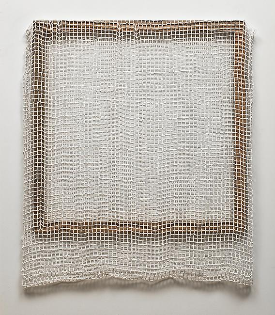 <i>Ghost (white)</i>, 2009-2011 glass beads, cotton, keviar, stretcher bar 42 1/2 x 37 x 2 inches