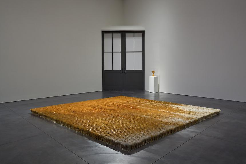<i>Gather (one million)</i> 2008-2010 glass beads, stainless steel, hemp 4 3/4 x 144 x 144 inches