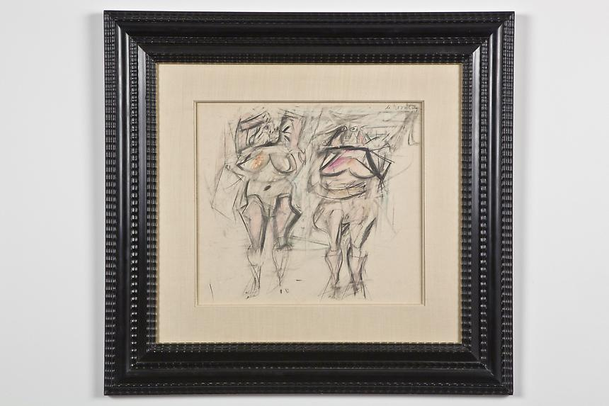 <b>Willem de Kooning</b> <i>Two Women II</i>, c.1952 graphite and colored pencil on paper laid down on board 14 1/4 x 15 3/4 inches