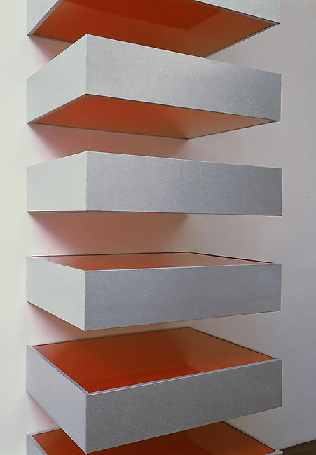 <i>Untitled (79-40 Bernstein)</i> 1979 galvanized iron and red plexiglas 10 units, each unit: 9 x 40 x 31 inches