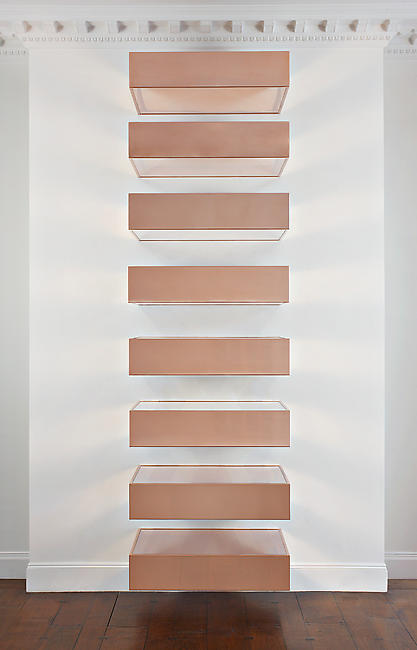 <i>Untitled (87-34 Bernstein)</I> 1987 ten copper and clear plexiglas units 10 units, each unite: 9 x 40 x 31 inches
