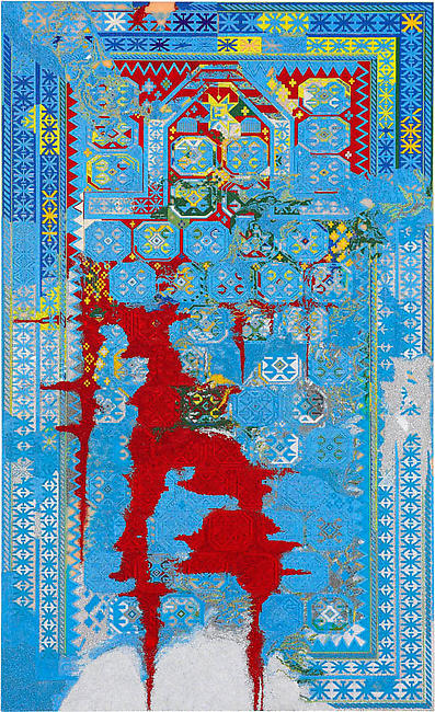 <i>Axis Defeat</i> 2007-2008 glass beads on aluminum panel 108 x 66 inches (274.3 x 167.6 cm)