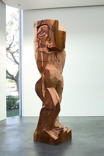<i>Rattlesnake figure (carving)</i>, 2010 Redwood, graphite and charcoal 144 x 30 x 30 inches