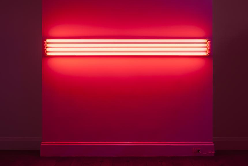 <i>Tom Powel Imaging, Inc. </i> <b>DAN FLAVIN</b> <i>four red horizontals (to Sonja)</i>, 1963 red fluorescent light 8 3/4 x 96 inches (22.2 x 243.8 cm)
